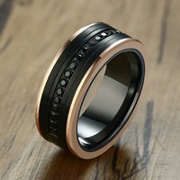 8mm CZ Stone Tungsten Carbide Men Rings Eternity Rose Gold Edge Wedding Band Male Luxury Jewelry