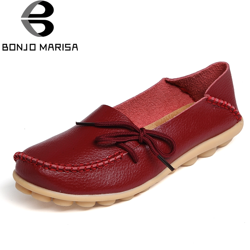 BONJOMARISA Women Genuine Leather Flat Shoes Woman Slip On Loafers Comfy Ballet Shoes Female Moccasins Big Size 34-44 new genuine leather women s casual shoes slip on woman flat shoe flexible women loafers moccasins female footwear big size 35 40