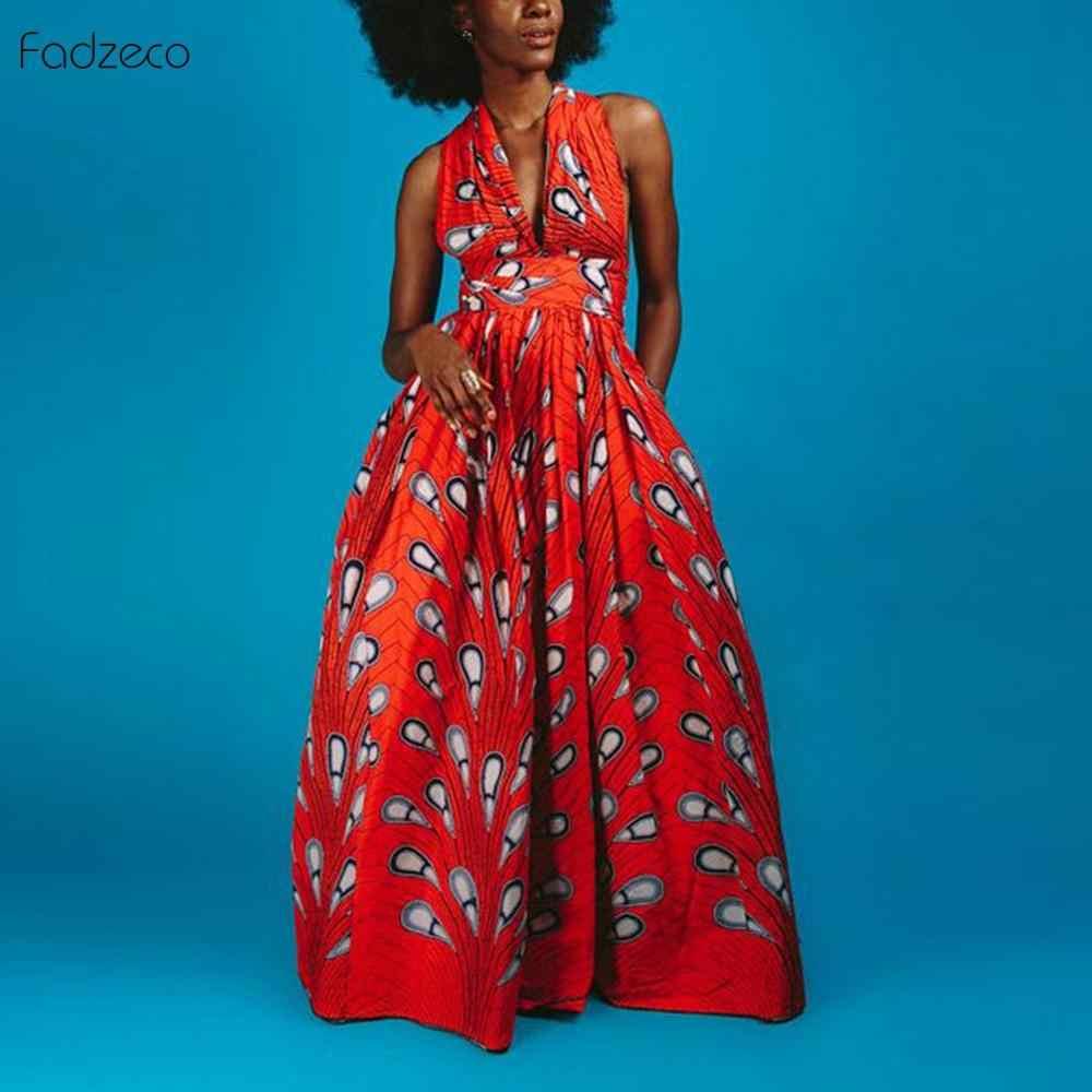 Fadzeco Nieuwe afrikaanse jurken voor vrouwen Kleding Patronen Ankara Dashiki Ankara Afrikaanse Print Jumpsuit Zoom Maxi Jurk Split Vooraan