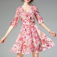 Для женщин реальные шелковые Платья с цветочным рисунком летний сарафан с рукавом лепестком пляжное платье вечерние клуб Ткань Женские Офи