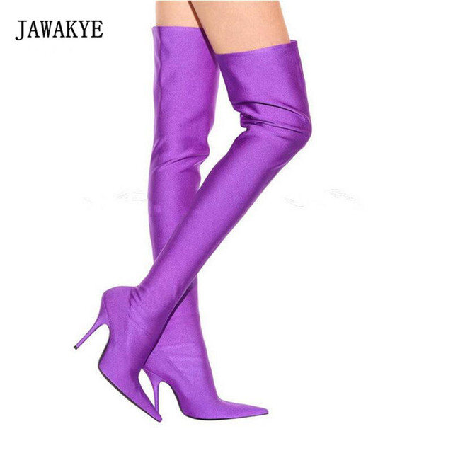 2017 New Stretch Thigh High Boots Woman Pointed Toe Thin High Heel Shoes  Woman Sexy Pink Purple Black Over The Knee Boots Women