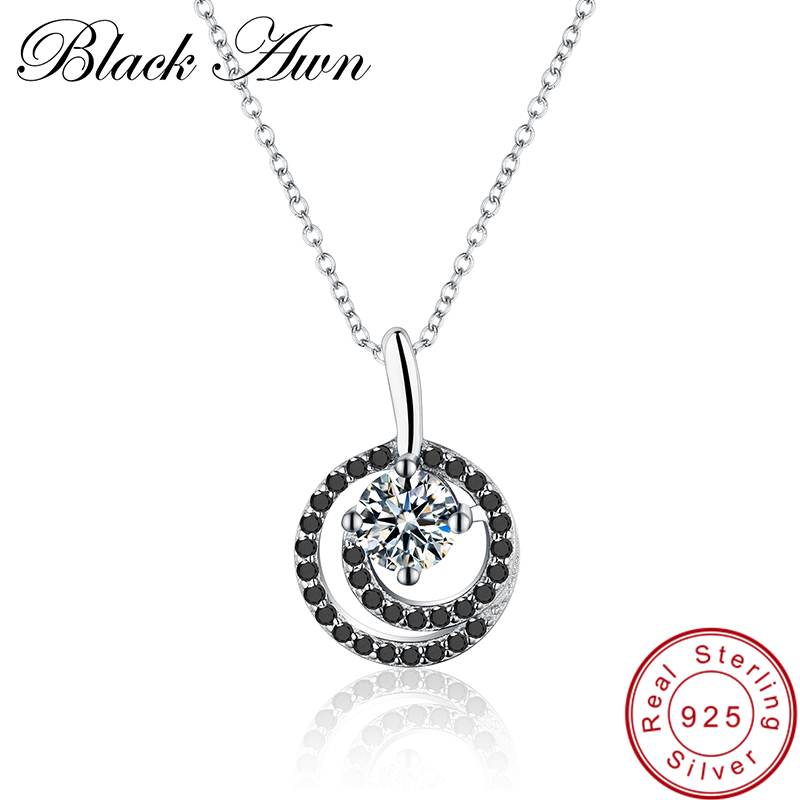 [BLACK AWN] Real 925 Sterling Silver Necklace for Women Trendy Spiral Necklaces Pendants Sterling Silver Jewelry P001