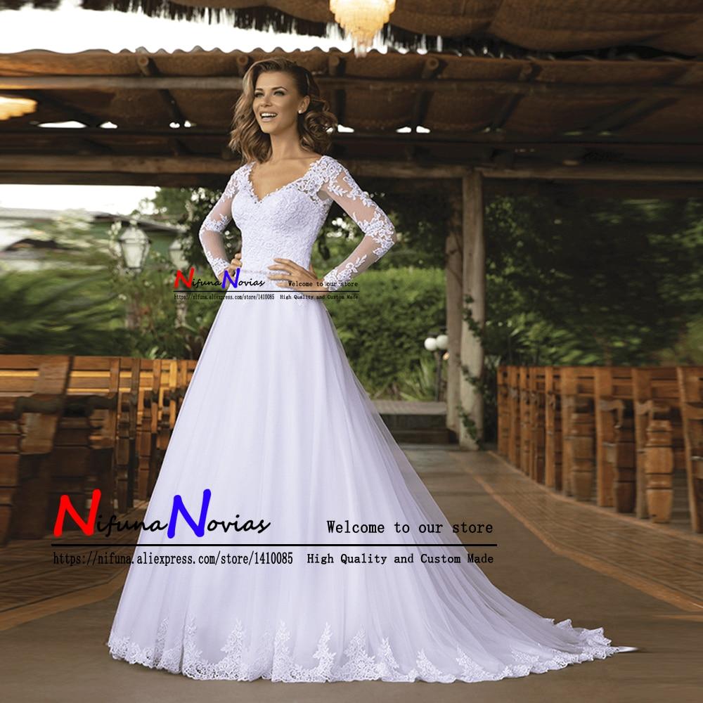 Vestido de Noiva Simples Cheap Beaded Lace Long Sleeves Wedding Dress A Line Bridal Dresses Shop