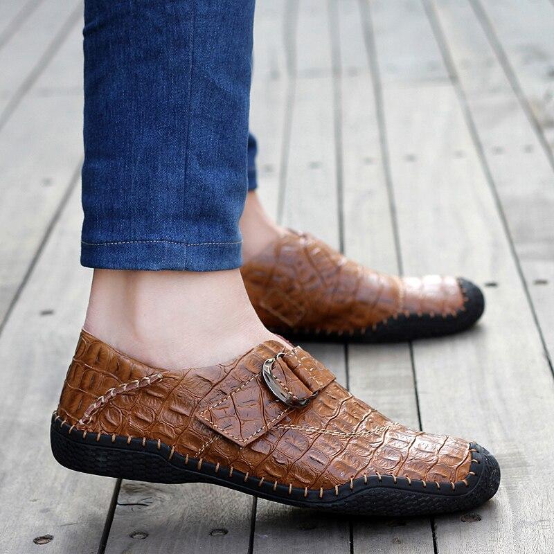 US $45.68 26% OFF Krokodil Leder Schuhe Männer Mokassins Geprägte Handarbeit Männer Schuhe Casual Slip Auf Braun Blau Grün in Freizeitschuhe für
