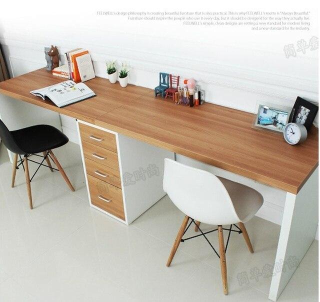 Doble larga mesa escritorio de la computadora de for Mesas para ordenador ikea