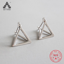 S925 sterling silver personality cold wind hollow geometry three-dimensional triangle earrings retro silver harajuku sexuality personality earrings spoon fork triangle ruler scissors earrings