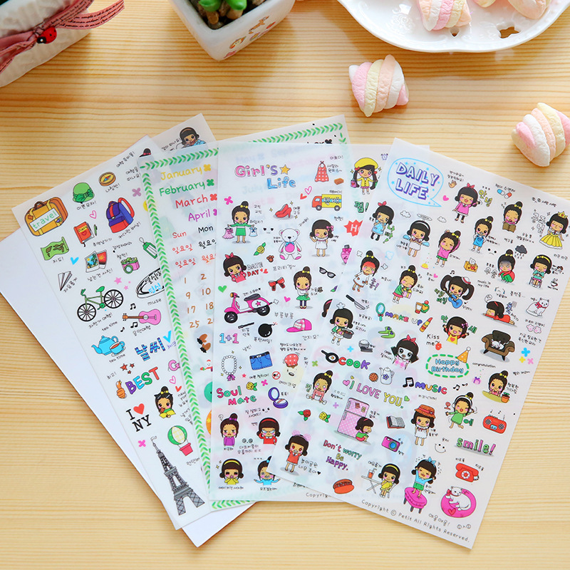 4 Pcs / Pack Daily Life 4 Sheet Cute Stationery Travel Pvc Kawaii Stickers Planner Stickers Sticky Notes Post It Papelaria
