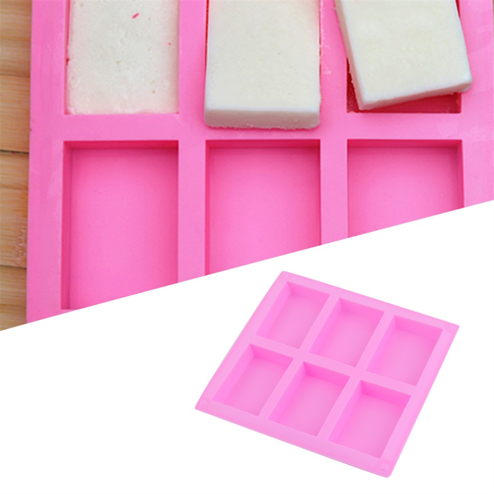 HOSL 3 Pack 6-Cavity Plain Basic Rectangle Silicone Mould For Homemade Craft Soap Mold Ice Cube Tray Cake Mold