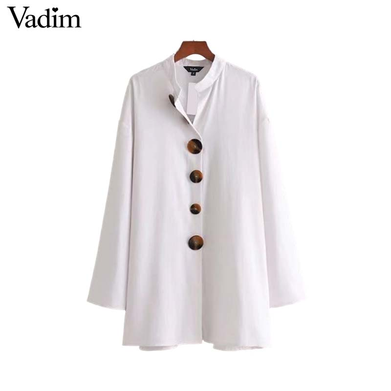 Vadim women elegant white loose long shirt oversized long sleeve pleated blouses solid female casual chic tops blusas LT2789