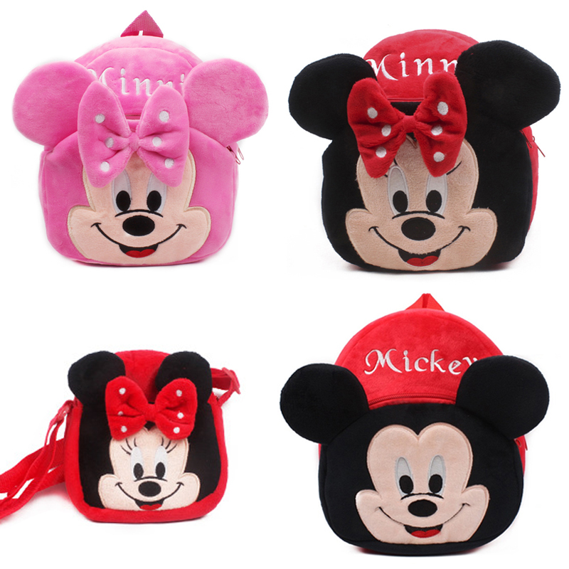Cute baby plush backpack cartoon Mickey Minnie children's mini school bag for kindergarten girl boys student schoolbag shouldbag(China)