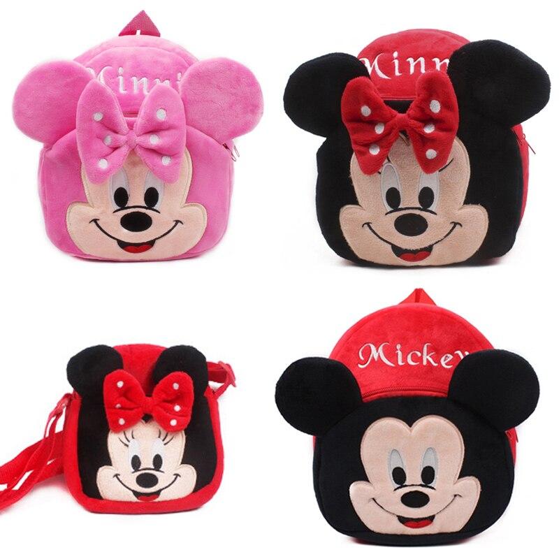 Cute baby plush backpack cartoon Mickey Minnie children's mini school bag for kindergarten girl boys student schoolbag shouldbag(China)