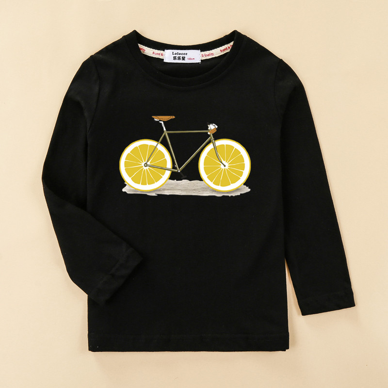 Kids funny fruit bike 3D t shirt baby girl long sleeve print cotton top tees children lemon pattern clothes boy autumn shirt 1