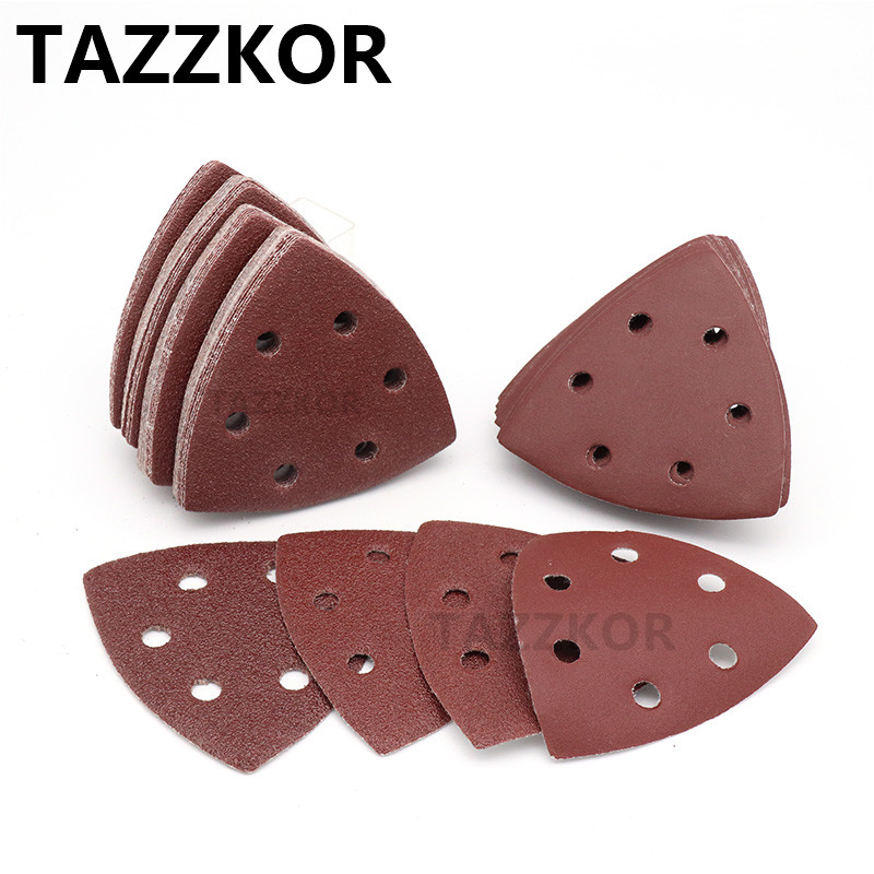 Triangle Sandpaper Grit Self-adhesive Sand Paper Sanding Disc Abrasive Stone Glass Grinding For Wooding Polish Tool 90x90 10pcs