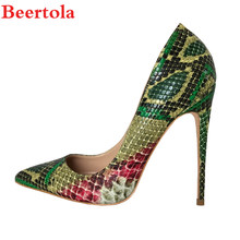 98036129b2bd Beertola Woman Shoes Sneakskin Sexy Pumps 12 10 8cm High Heels Stiletto  Mixed-color Wedding Party Women Shallow Pumps Size 33-43