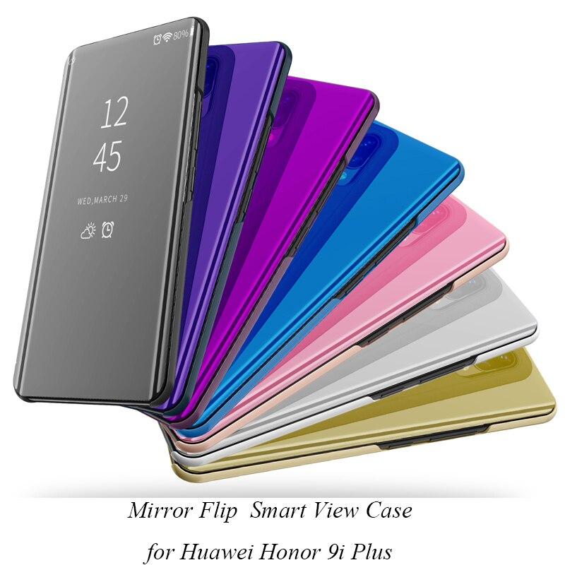 Virar inteligente Suporte Espelho Case For Huawei Honor 9i Plus 9I + Caso Clear View Capa de Couro PU Para Huawei honra 9i Além da Tampa Do Caso