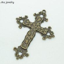 3 шт. античные бронзовые покрытые кресты подвески DIY Изготовление ювелирных изделий 74*53 мм 3540B