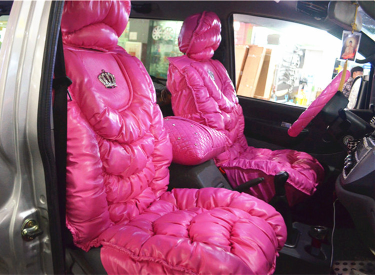Luxury PU Leather VIP Crown DAD Pink Seat Cover Cushion Universal for Most Car Auto Accessories