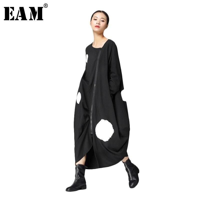 [EAM] 2018 New Autumn Round Neck Long Sleeve Solid Color Big Dot Split Joint Loose Big Size Black Dress Women Fashion JA88501