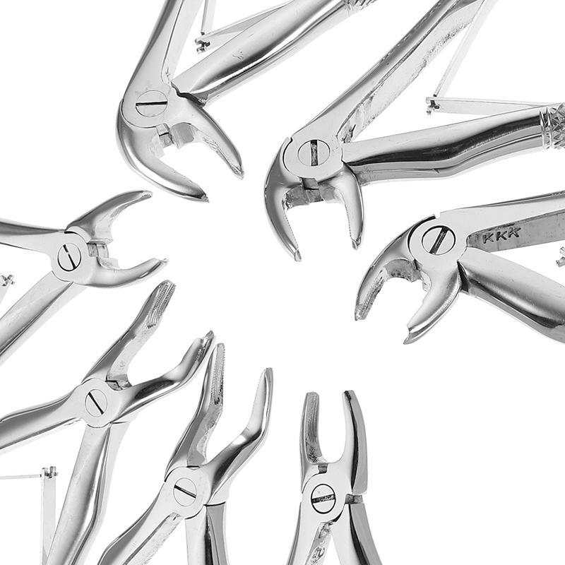 7pcs Stainless Steel Dental Forceps Children's Tooth Extraction Forcep Pliers Kit Orthodontic Dental Lab Instruments Tools transparent dental orthodontic mallocclusion model with brackets archwire buccal tube tooth extraction for patient communication