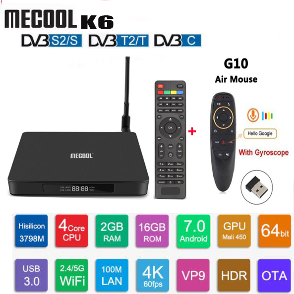 MECOOL K6 DVB S2 T2 C 4k TV Box satellite Android 7.0 receiver 2GB RAM 16GB ROM 2.4G&5G WiFi 100Mbps 4K smart box VP9 BT4.1