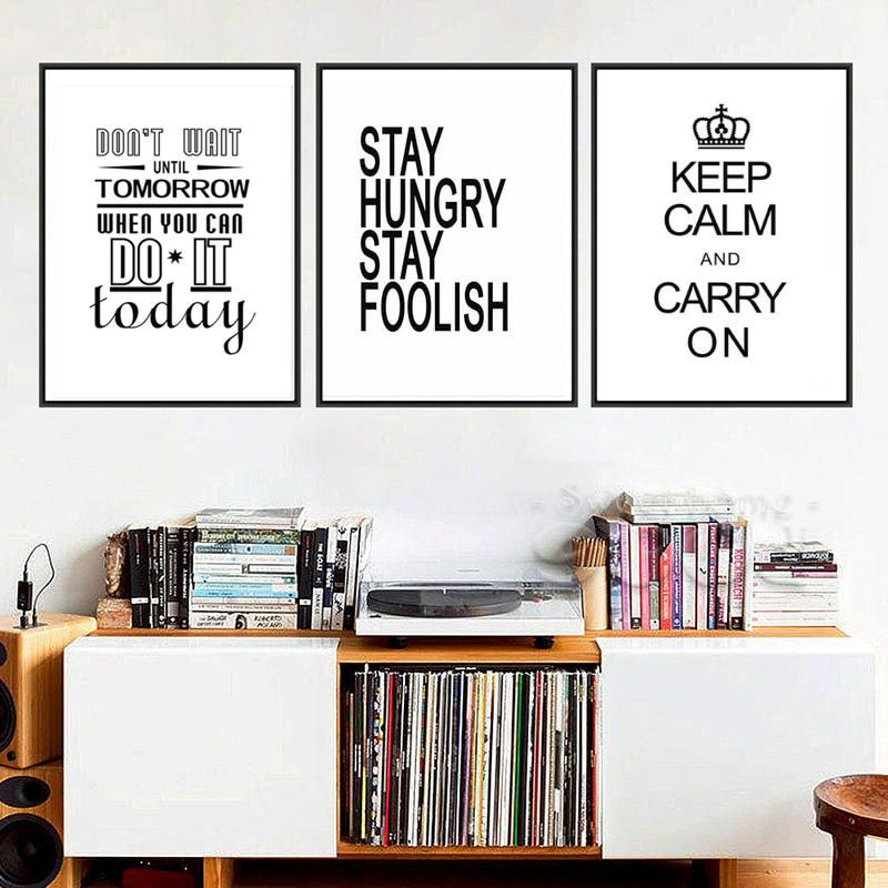 stay Hungry Stay Foolish Quotes canvas Print Poster,Motivational words Wall art for home office Decor,no frame wall shelf for tea pots