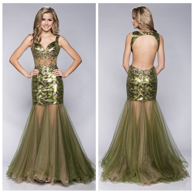 b24ec94fc0 2017 New Fashion Mermaid Prom Dress Camo Hunting Sexy Open Back Beaded Slim  Special Occasion Party Gowns Hunting Camouflage