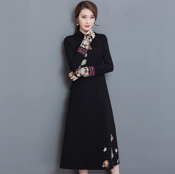 ec686f41aa Clobee Embroidery Flower Solid Pastel Women Dress Vintage Elegant Long  Ladies Dresses Full Sleeve Button Femme Vestidos V299-in Dresses from  Women s ...