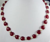 Elegant 7 8MM 10mmNatural White Cultured Pearl Heart Red RUBY Necklace 18 AAA A 5 18