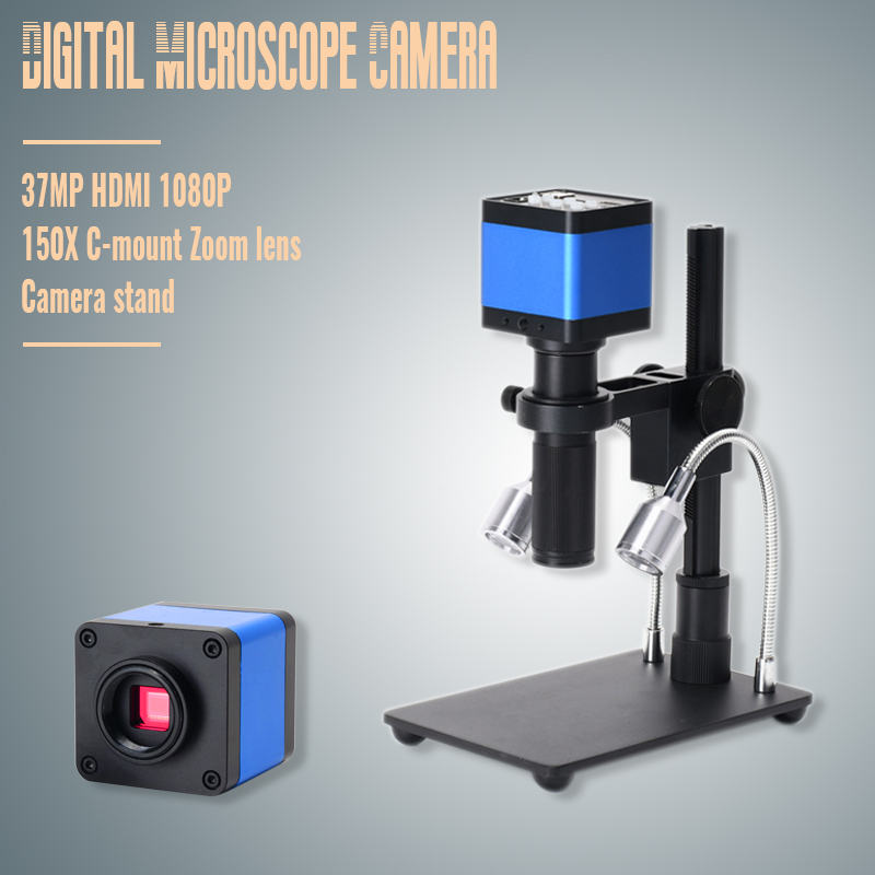 2019 HDMI USB 37MP 1080P TF Video Recorder Microscope Camera + MINI Stand + Zoom 150x C Mount ZoomLens For Lab PCB IC BGA Repair