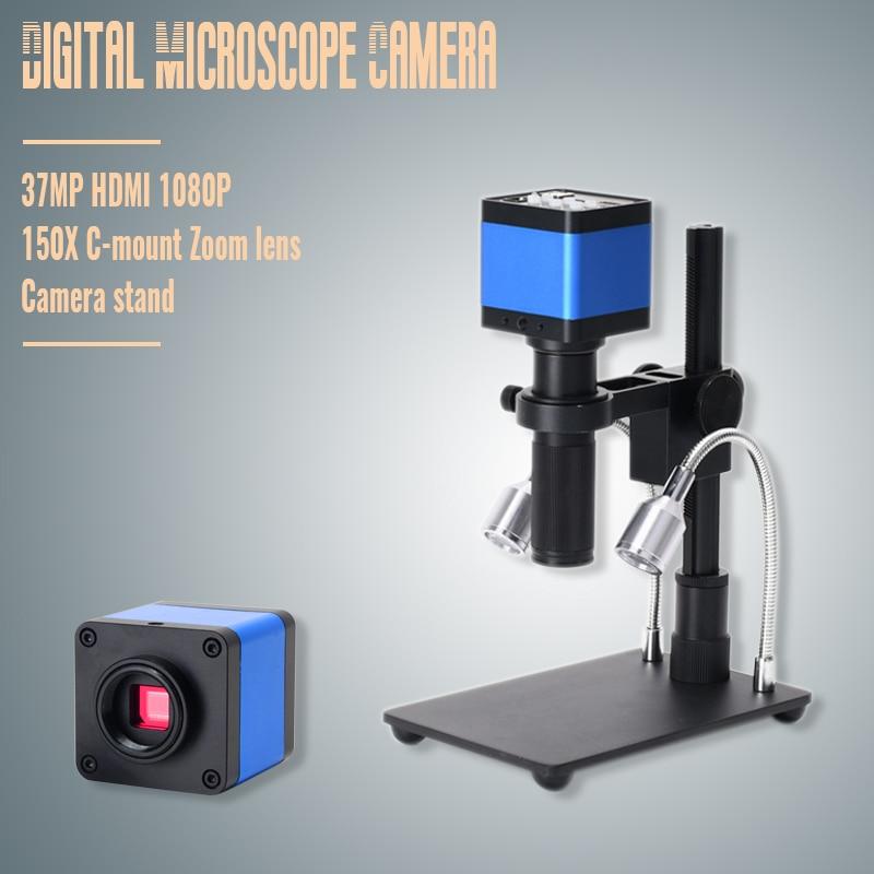 2019 HDMI USB 37MP 1080P TF Video Recorder Microscope Camera + MINI Stand + Zoom 150x C Mount ZoomLens For Lab PCB IC BGA Repair