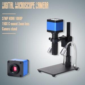 2019 hdmi usb 37mp 1080 p tf gravador de vídeo microscópio câmera + mini suporte zoom 150x c montagem zoomlens para laboratório pcb ic bga reparação