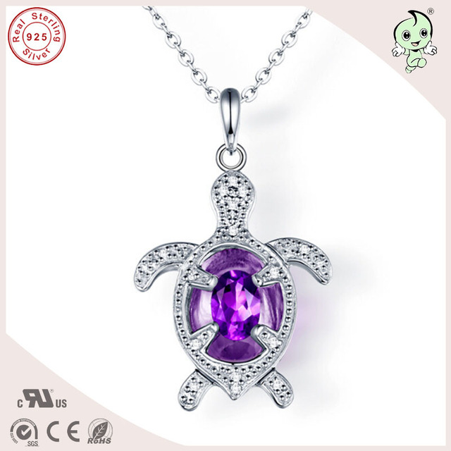 Creative Silver Jewelry Gifts Shining Amethyst 925 Real Silver Turtle Pendant