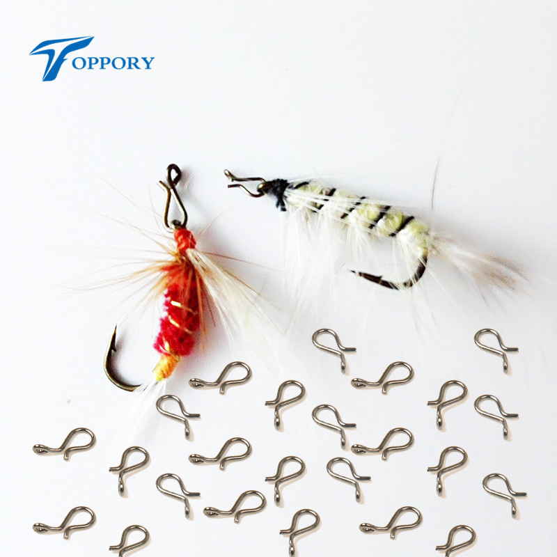TOPPORY 100PCS Fly Fishing Snap Quick Change Black Nickle Color Snap Fish Hook Lure Fly Fishing Snaps Terminal Tackle fly iq255 pride black