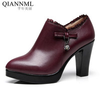 Qiannml Plus Size 33 43 Women's Deep Mouth Shoes with Heels 2018 Platform Pumps Woman High Heels Office Work Shoes