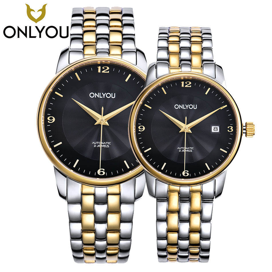ONLYOU Unisex Skeleton Mechanical Watches For Men Women Simple Style Wristwatches Couple Top Brand Luxury Stainless Steel Strap women luxury rhinestone clutch evening bags ladies crystal wedding purses dinner party bag 4 colors