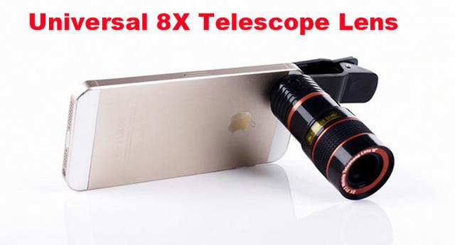 Clip de la lente de zoom 8x lente del telescopio del teléfono móvil ajustable para samsung galaxy j3 emergen, j3 (2017), para huawei p8 lite (2017)