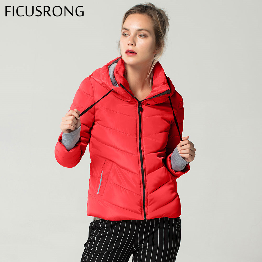 Short Autumn Winter Jacket Women Parkas Hooded Coats Female Wadded Jacket Women Parka Padded Jacket With Gloves chaqueta mujer-in Parkas from Women's Clothing    1