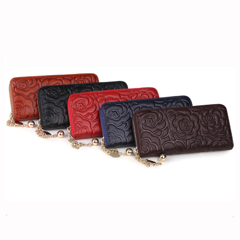 Vintage Genuine Leather  Long Women Wallet Rose Clutch Embossing Wallet Ladies Purse Flower Carteira Feminina леска для триммера bosch art 26 combitrim 10 шт