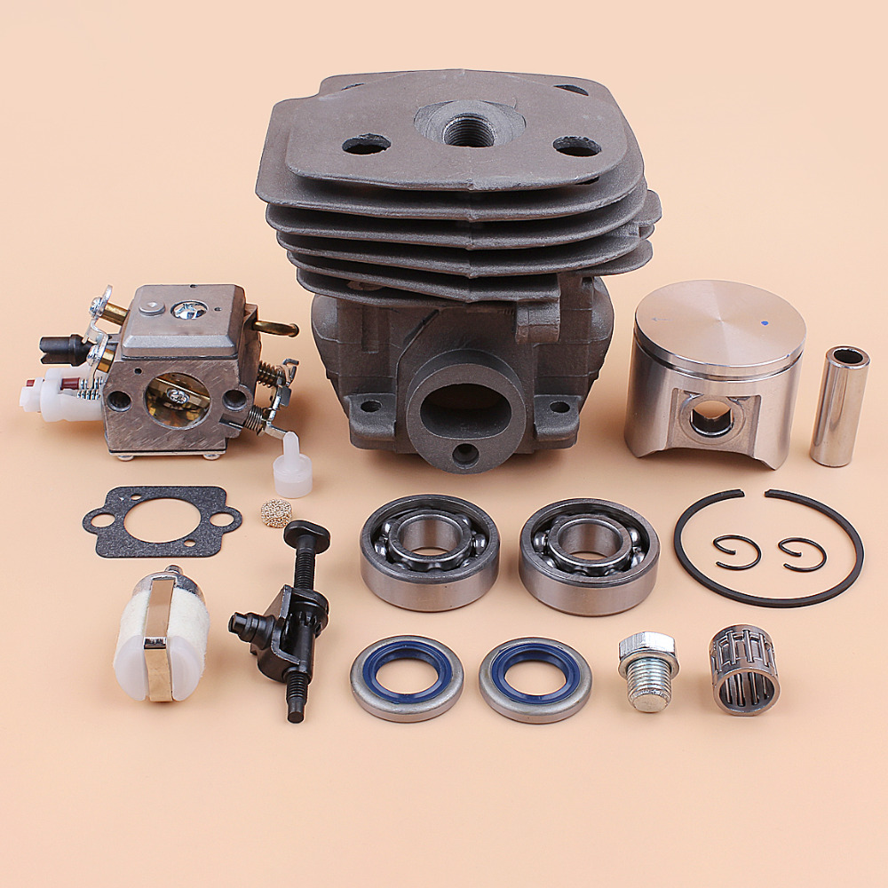 47mm Cylinder Piston Bearing Carburetor Chain Tensioner Tank Vent For Husqvarna 357 XP 357XP 359 Chainsaw Replacement Parts