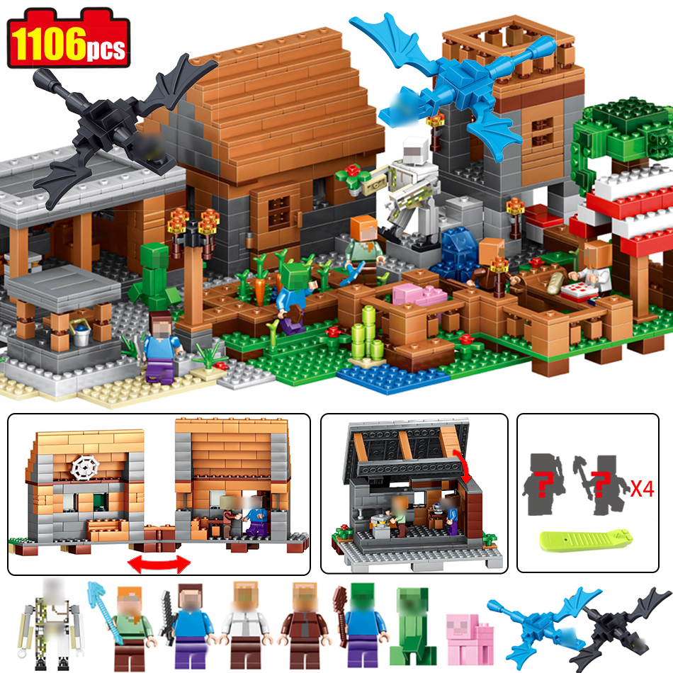 1106pcs Compatible Legoed Minecrafted model building font b toys b font Building Block My Village My