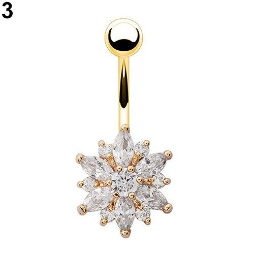 HTB17eZ6PpXXXXbiXXXXq6xXFXXXk Women Body Piercing Jewelry Rhinestone Flower Belly Button Navel Ring - 8 Styles
