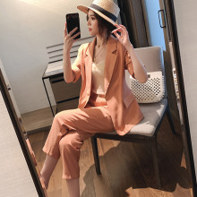Office Lady Casual Solid Women Pant Suits Blazer Jacket Women Wear to