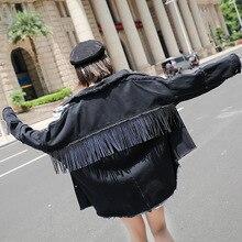 Womens Denim Jacket Coat Black Plus Size Women Tassel Coats And Jackets Casual Gothic Loose Oversize