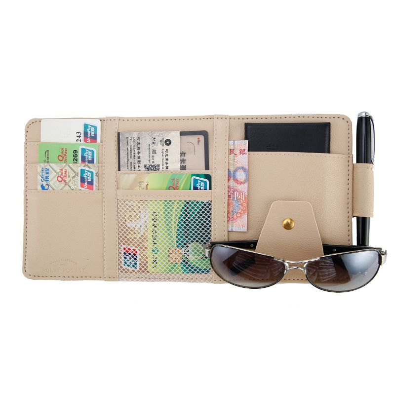 New Fashion Car Front Gear/sun Visor Storage Bag High-grade Pu Leather Stowing Tidying Cd Driving Document Ticket Storage Glasses Clip Auto