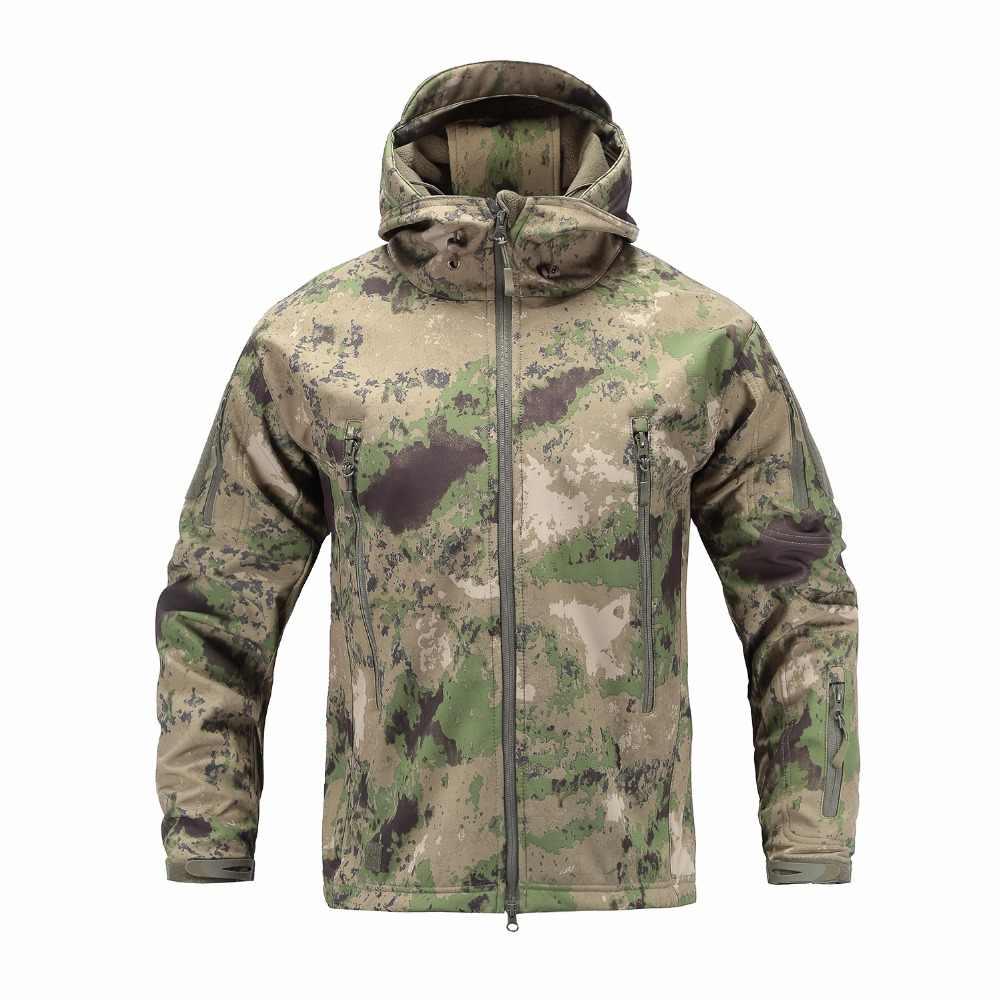 サメ皮ソフトシェル V4 屋外軍事戦術ジャケット男性防水防風コートハント迷彩軍の服