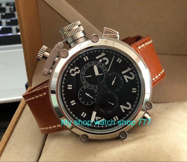 50mm parnis zwarte wijzerplaat linkerhand type Automatische Self Wind beweging multifunctionele lichtgevende mannen horloges pa64 p8-in Mechanische Horloges van Horloges op  Groep 3