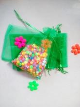 1000 unids Hierba verde del regalo del organza bolsas 11×16 cm bolsos de fiesta para las mujeres evento casarse Con Cordón bolsa de La Joyería pantalla Bolsa de accesorios de bricolaje