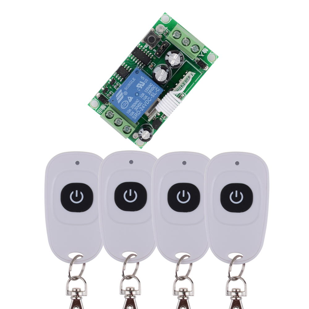 DC 24 V 1CH 10A Relay RF Wireless Remote Control Switch Wireless Light Switch  Receiver With One Button WhiteTransmitter