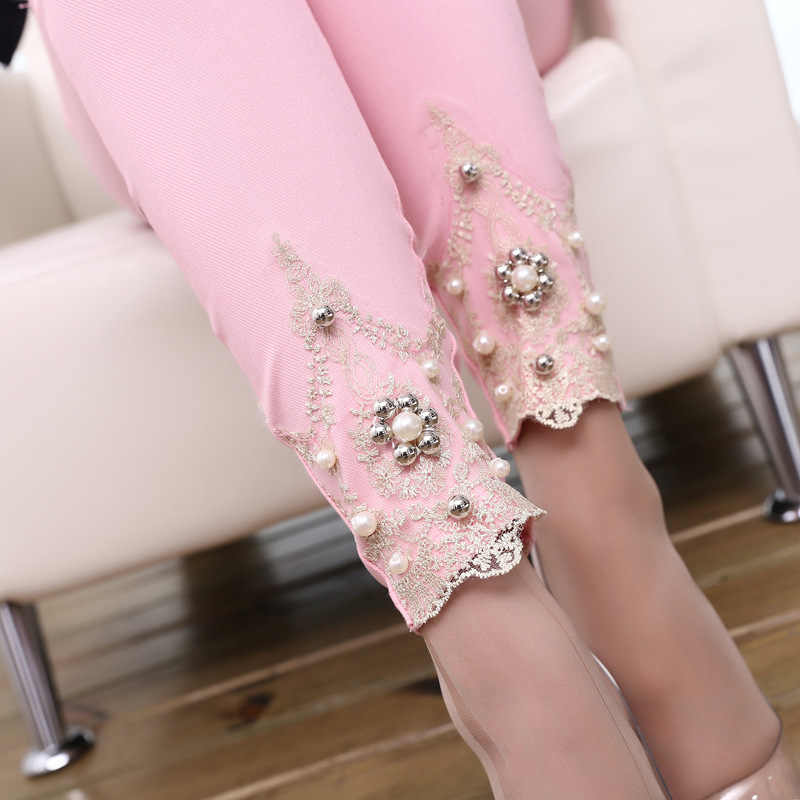 lady spring autumn cotton blended pencil pants casual skinny leggigns slim fitted floral lace capris pink white trousers