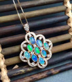 Natural opal stone pendant S925 silver Natural gemstone Pendant Necklace trendy Luxury large round women party fine jewelry